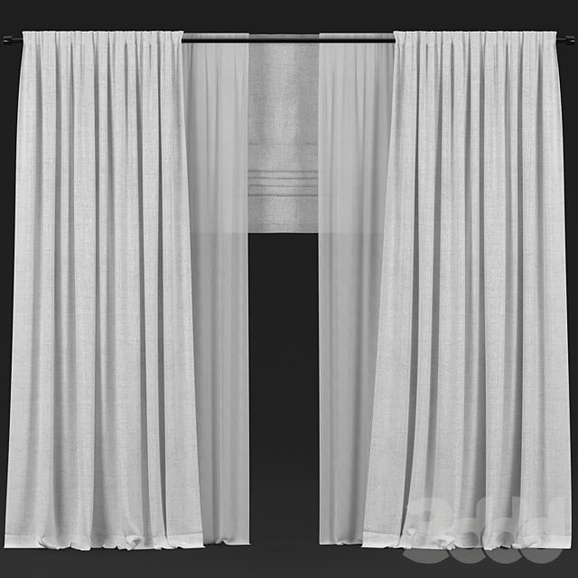 Белые шторы с тюлем