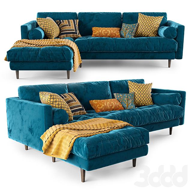 Article Sven Cascadia Blue Left Sectional Sofa