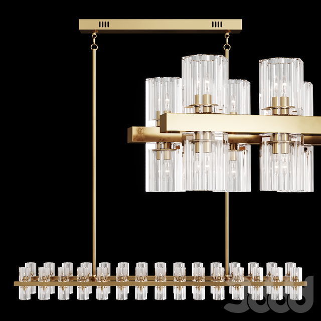 Restoration Hardware ARCACHON LINEAR CHANDELIER 54 Brass