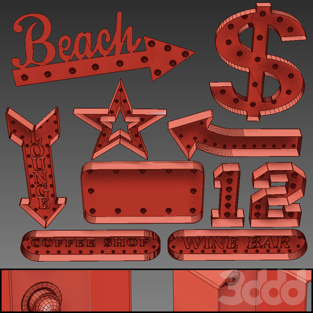 Lighted Metal sign. Set 19