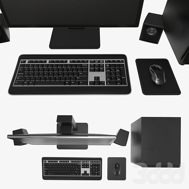 Сomputer monitor keyboard mouse pad speakers woofer set