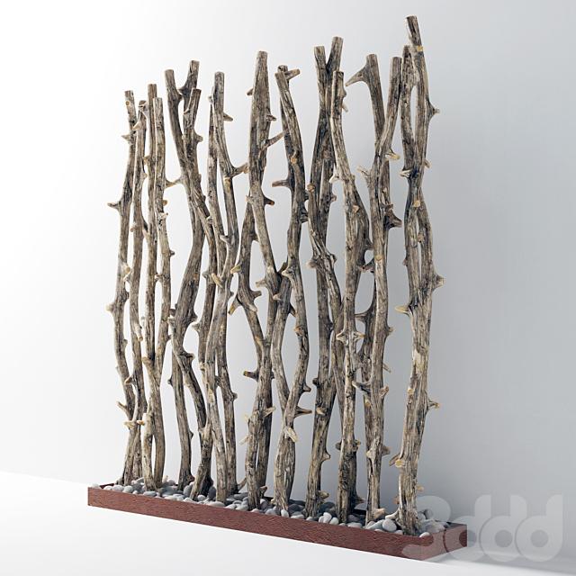 Ветки старого дерева на основании с галькой / Branch old tree fundament pebble