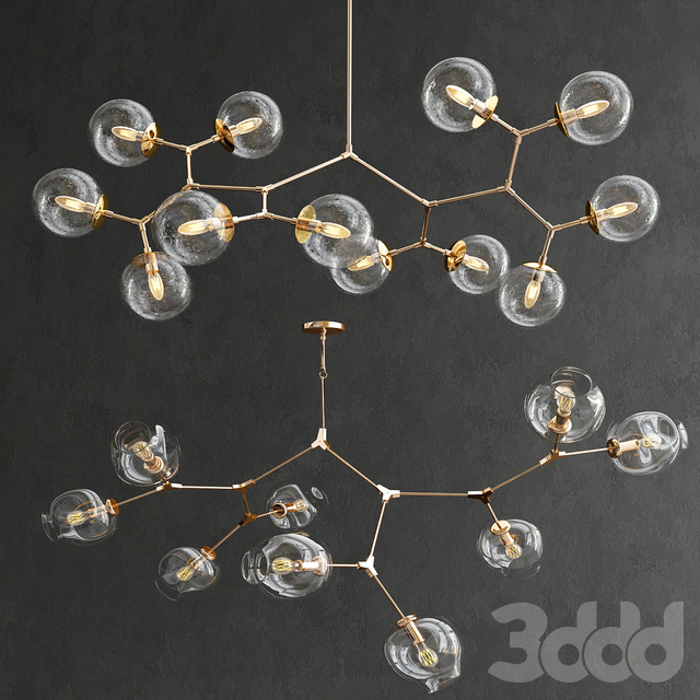 Vintage Glass & Branching Bubble Chandelier