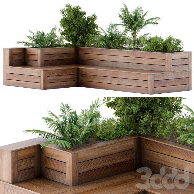 Roof Garden- Back Yard Furniture Bench with Flower Box