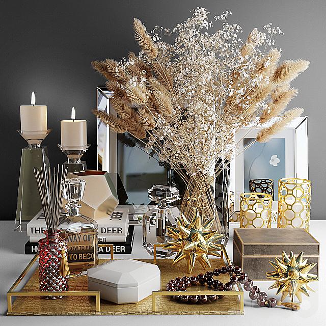 Декоративный набор с букетом из белых цветов и сухой травы