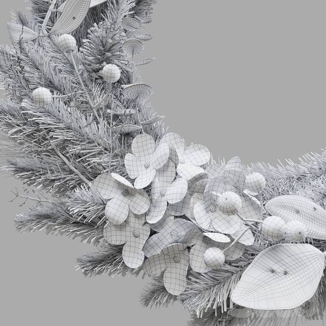 Hydrangea Christmas Garland in Gold part 2