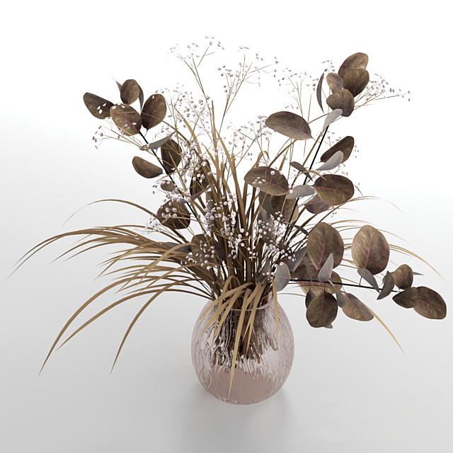 Букеты из сухоцвета эвкалипта с цветками и травой.