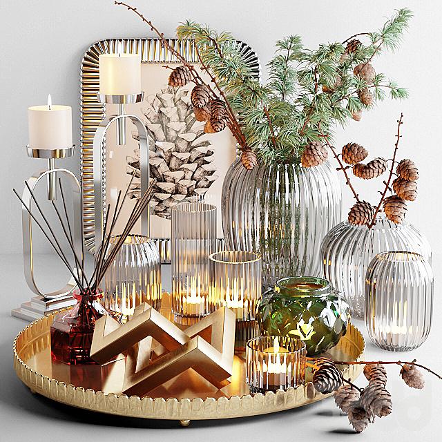 Декоративный набор с веткой лиственницы и свечами