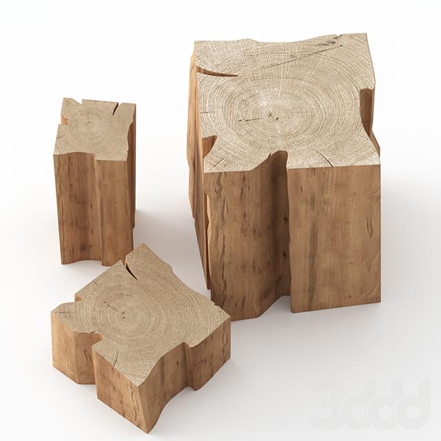 Три журнальных столика из пней.