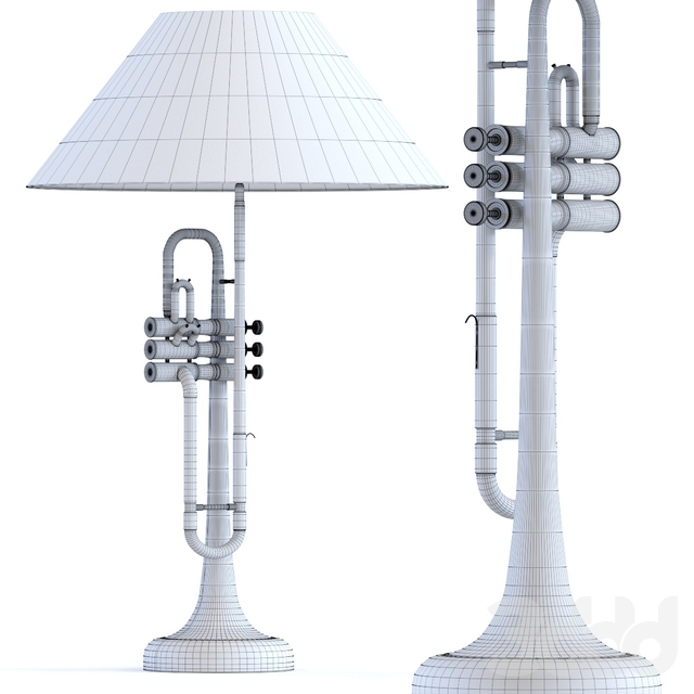 Table Lamp Trumpet Jazz Gold