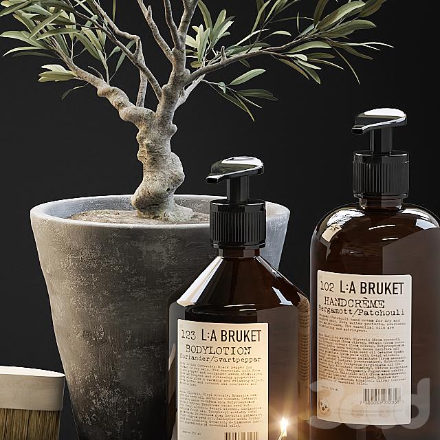 Tiny bonsai olive tree in stone pot with decor set for bathroom