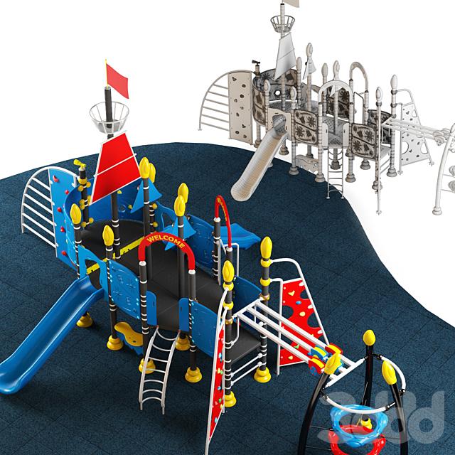 Kids playground equipment with slide climbing 10