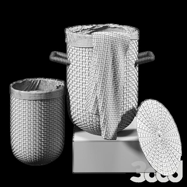 Круглые плетеные корзины для белья