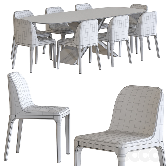 Calliope XXL Table and Gilda Chair from Tonin Casa Dining Set