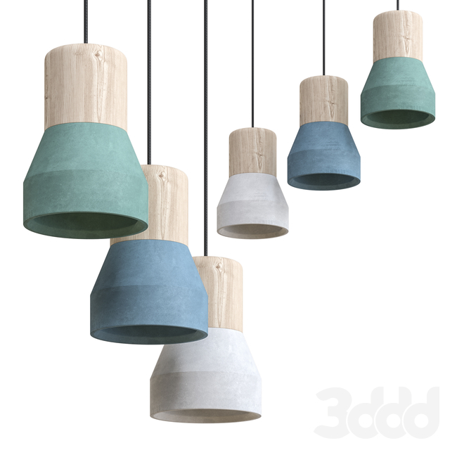 Cement Wood Lamp by Specimen Editions Pack 2