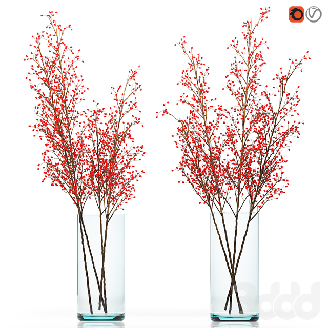 Decorative big branches with red berries in a glass vase