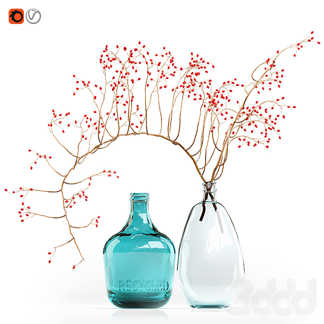 Decorative branch with red berries in a glass vase