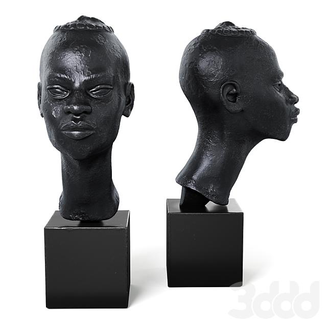 DE BLONAY TETE D AFRICAN sculpture
