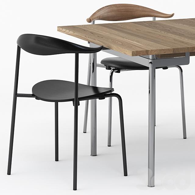 CH322 DINING TABLE, CH88P chair by Carl Hansen & Son