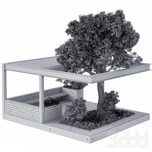Landscape Furniture/Architecture Arbour with Tree