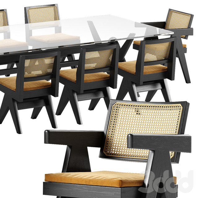 Cassina Capitol Complex table chair set