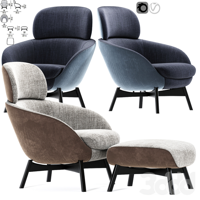 Minotti Russell Arm Chair With Pouf