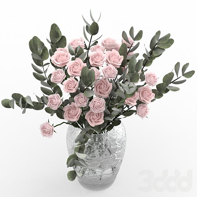 Кустовые розы с эвкалиптом.