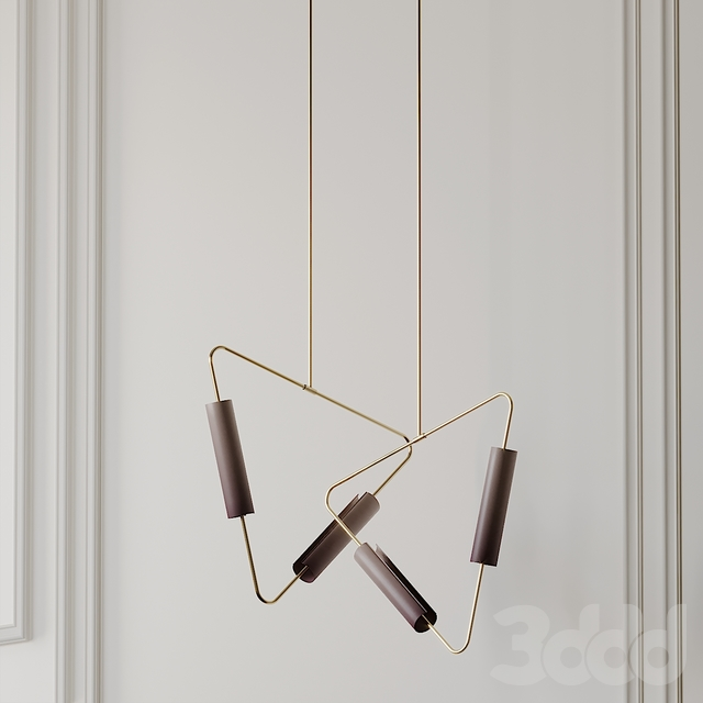 Muse Pendant by Avram Rusu Studio in Brushed Brass with Topaz Shades