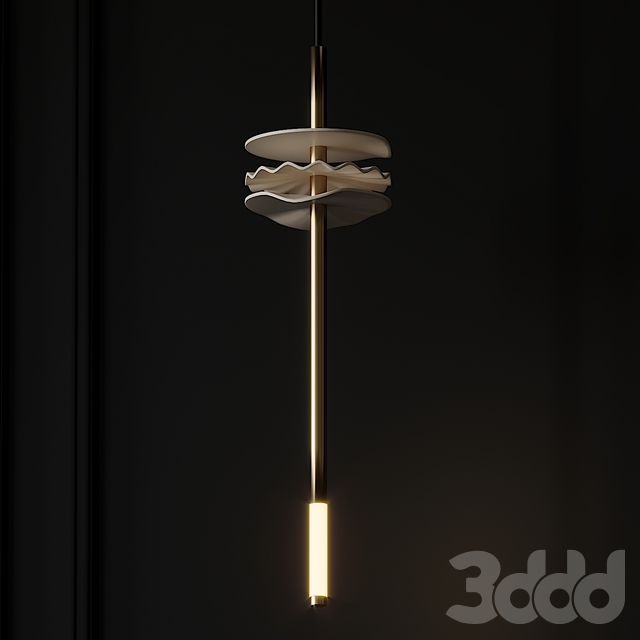 Needle Pendant Light in Porcelain and Brass