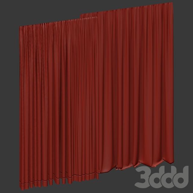 Коричневые шторы в трёх цветах с тюлем.