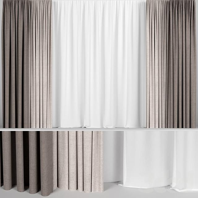 Коричневые шторы в двух цветах с тюлем
