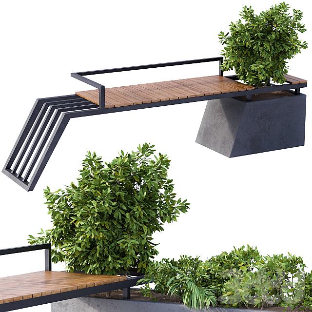 Landscape Furniture/Architecture Bench with Plants Box