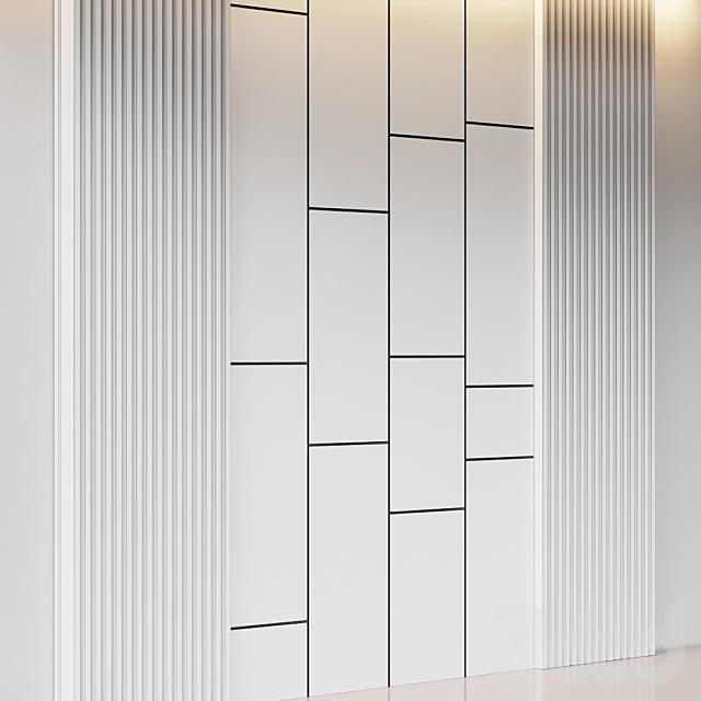 Декоративная стеновая панель из дубовых реек и бежевого вельвета