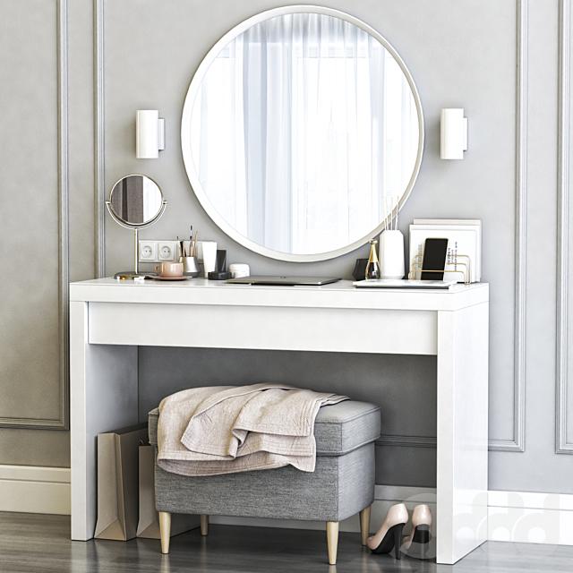 Ikea Malm Dressing Table with Langesund Round Mirror and Strandmon Gray Ottoman.