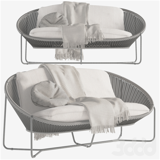 Morocco Graphite Oval Loveseat Crate and Barrel