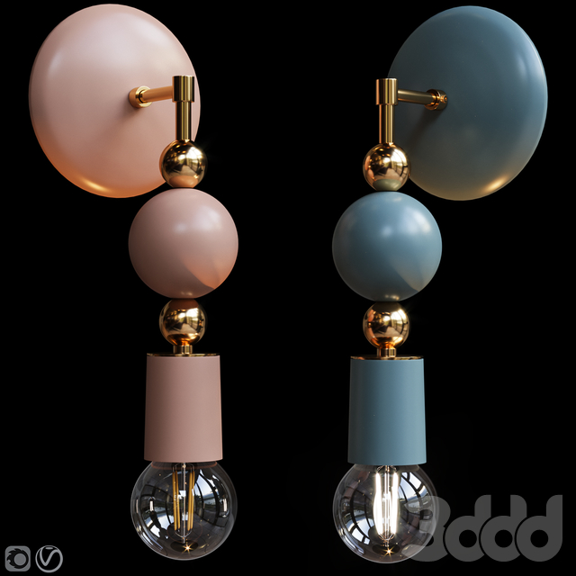 Бра Beaded Sconce Sphere Terracotta and Gray