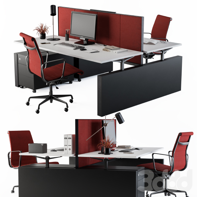 Office Furniture Employee Set Red