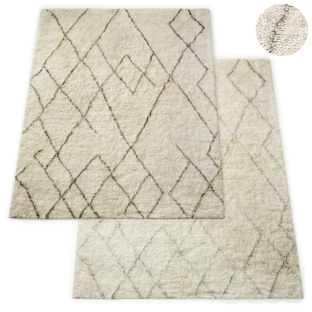 Lumina Sketched Hand-Knotted Wool Shag Rug RH Collection