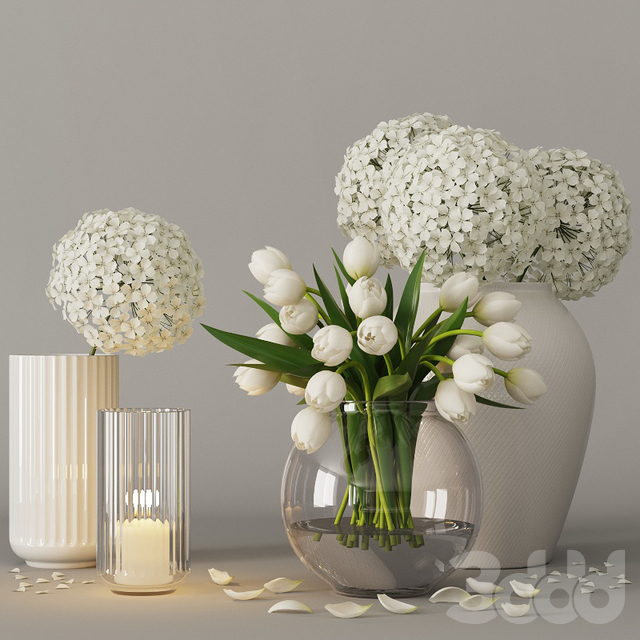 Decorative set with tulips and hydrangea 02