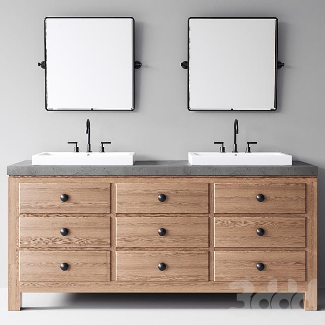 Pottery Barn Mason Double Sink Vanity Wax Pine