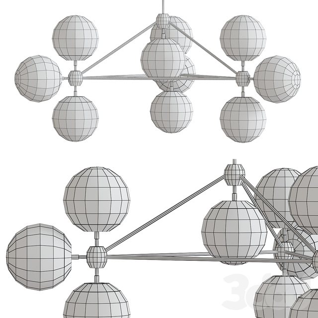 3-sided modo chandelier - 10 globes