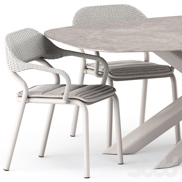 NOSS Armchair and SYSTEM STAR table by varaschin
