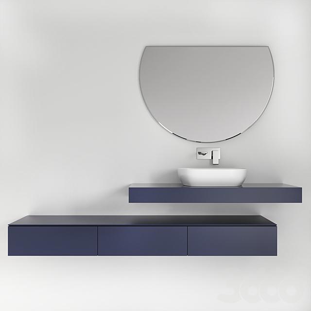 Bathroom Furniture 2& sink faucet with metallic hexagon tiles