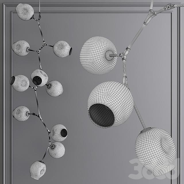 10-globe Branching Bubble Brushed Brass and Gray Glass