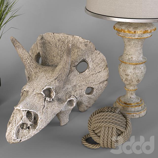 Декоративный набор с черепом динозавра