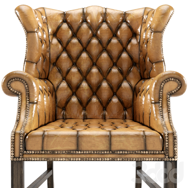 Vintage English Leather Tufted Wingback Library Chair