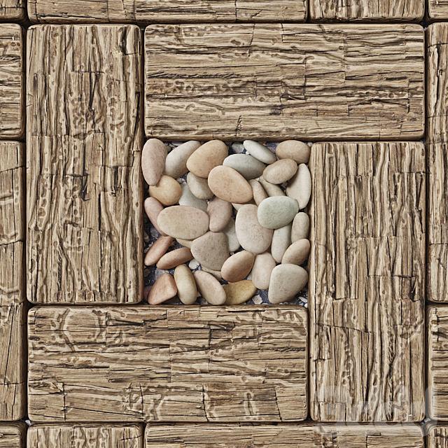 Board wood old square / Площадь из старых досок с галькой