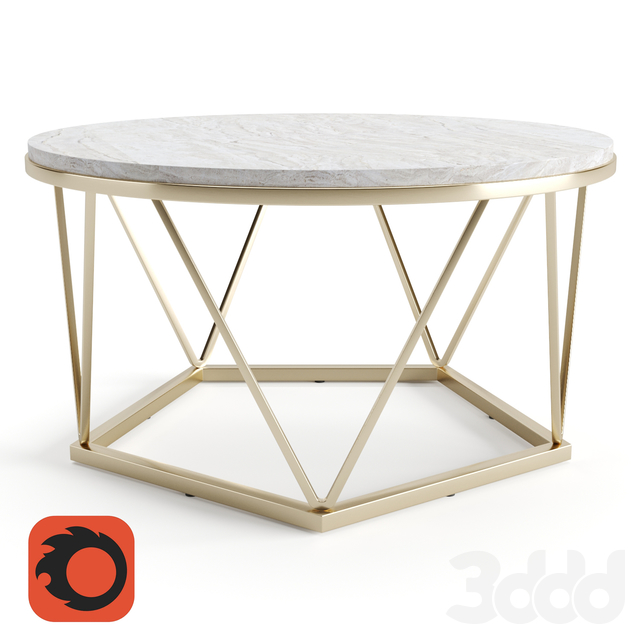 Silver Orchid Henderson Faux Stone Goldtone Round Coffee Table