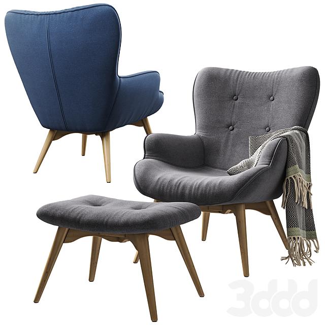 Кресло с пуфом Jysk PETERSBORG