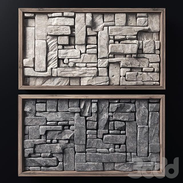 Stone rock panel frame n1 / Каменная панель в раме
